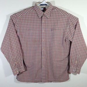 Vintage Tommy Hilfiger Mens Plaid Long Sleeve